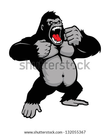 awesome kingkong standing - stock vector