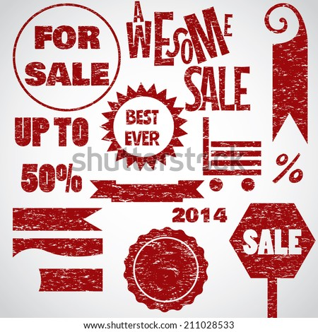 Awesome sale red text objects sign icons collection retro style - stock vector