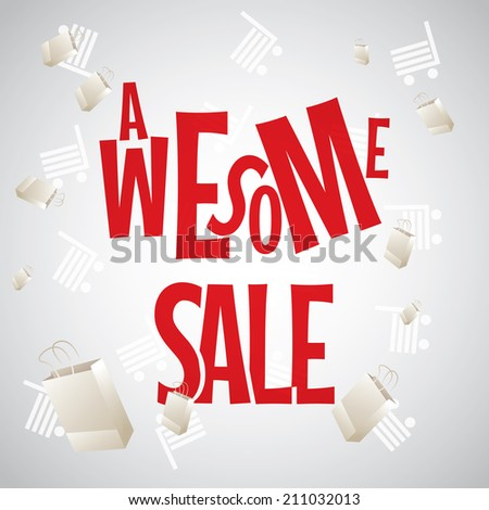 Awesome sale white red design template   - stock vector