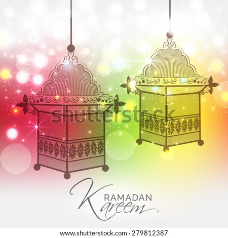 Awesome shiny lamp for Muslim community festival Ramadan Kareem with colorful background. - stock vector