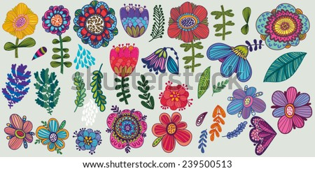 Awesome vector big floral set in bright colors - stock vector