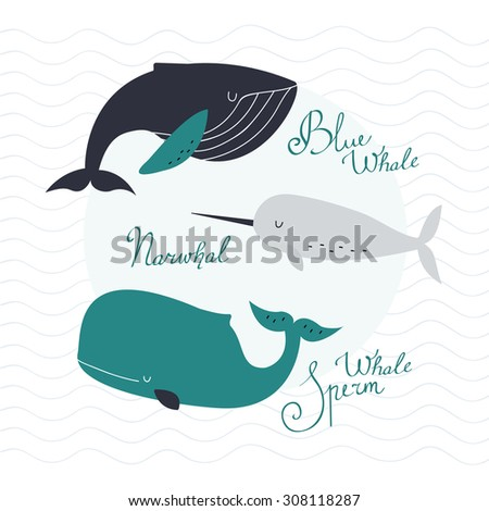 Awesome whales on wavy background - stock vector