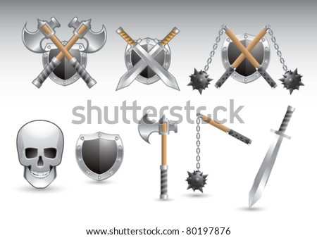 Axes, shields, maces, swords, and skull on isolated background - stock vector
