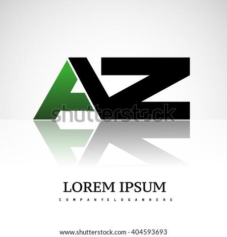 AZ company linked letter logo icon green and black - stock vector
