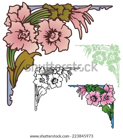 azalea like flowers in a corner ornament with variations - stock vector