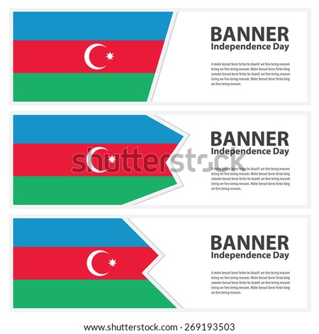 azerbaijan Flag banners collection independence day template backgrounds, infographic - stock vector