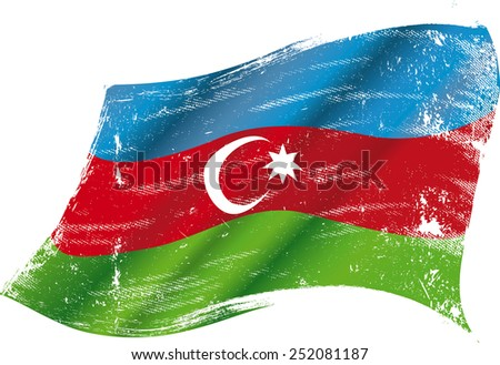 Azerbaijan grunge flag. Flag of  Azerbaijan in the wind with a texture - stock vector