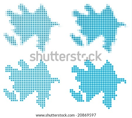 Azerbaijan map mosaic set. Isolated on white background. - stock vector