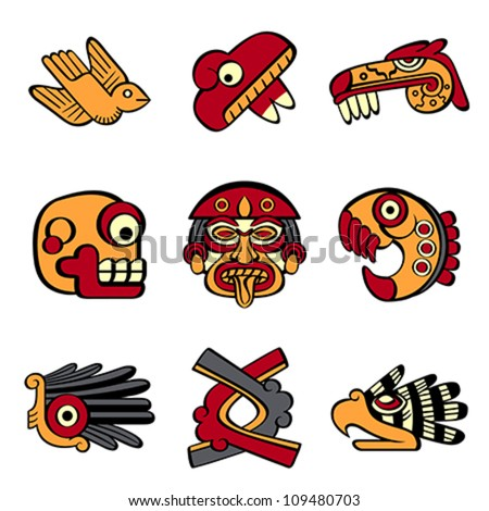 Aztec animal and abstract symbols - stock vector
