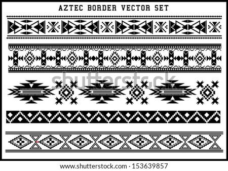 Aztec borders vector set Black and White - stock vector