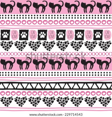 aztec cat pattern vector illustration - stock vector