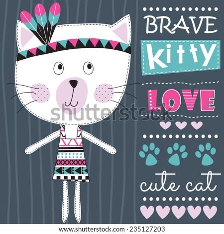 aztec indian brave cat vector illustration - stock vector