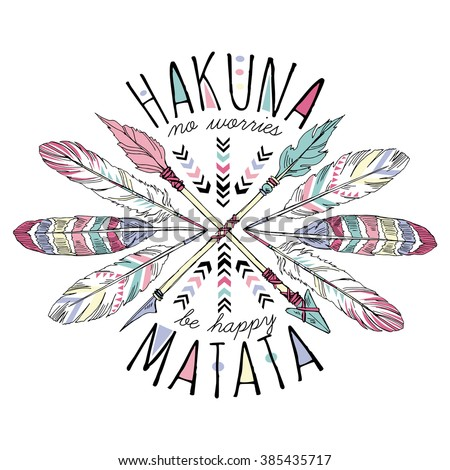 aztec lettering print, hakuna matata, summer t-shirt design - stock vector