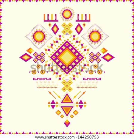 Aztec pattern. Can be used to fabric design, printing on T-shirts, bags, postcards, decorative paper, web design, etc. - stock vector