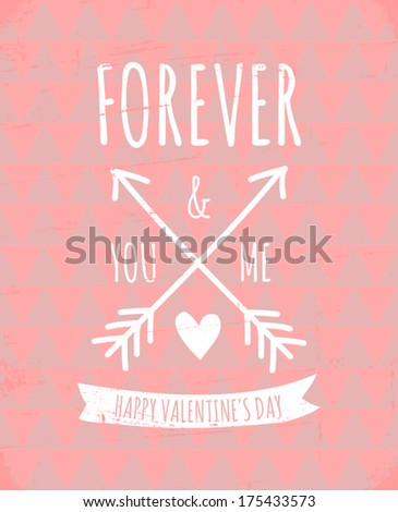Aztec pattern greeting card for Valentine's Day in pastel colors. - stock vector