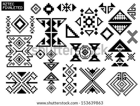 Aztec pixel vector set  - stock vector