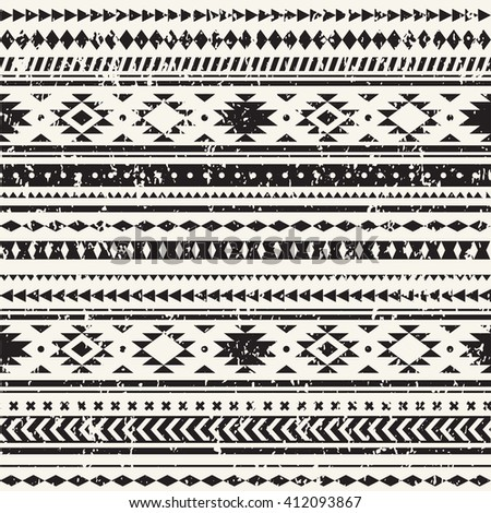 Aztec seamless pattern. Geometric borders. Colorful ethnic striped pattern. Wallpaper for pattern fills, web page - stock vector