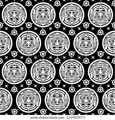 Aztec Seamless Pattern in Black & White - stock vector