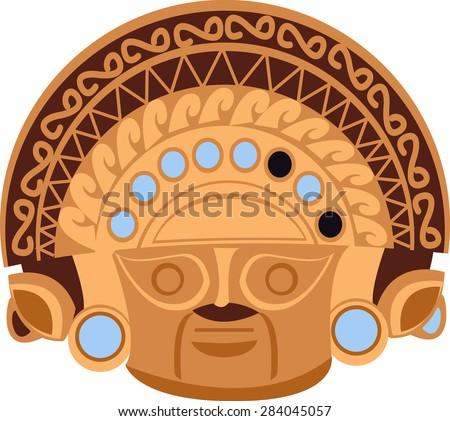 aztec statue head  - stock vector