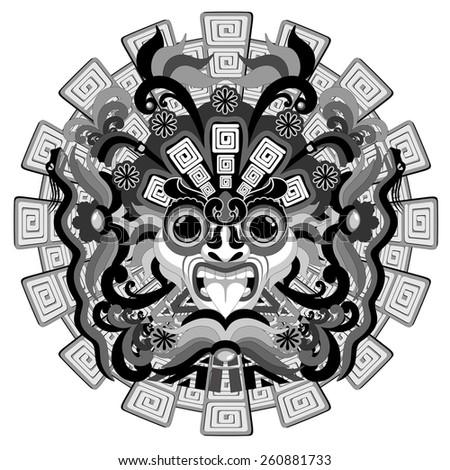 Aztec Sun Mask - stock vector