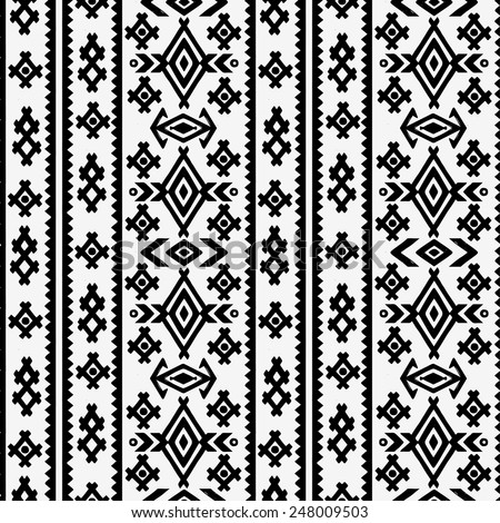 Aztec tribal art seamless pattern in black and white. Ethnic Mexican monochrome print. Folk border repeating background texture - stock vector