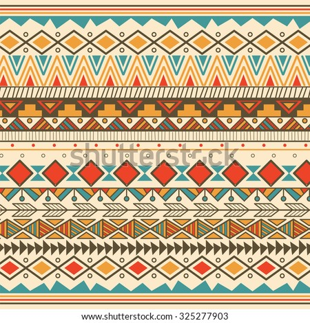 Aztec tribal pattern in stripes, vector illustration - stock vector