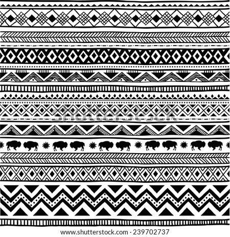 Aztec tribal seamless black and white hand drawn pattern - stock vector