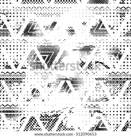 Aztec Tribal Seamless Pattern  Texture . Aztec Navajo Black Monochrome Repeating Grunge Pattern . Ethnic Seamless Pattern . Geometrical Distress Scratch Old Seamless Pattern . Vector . - stock vector