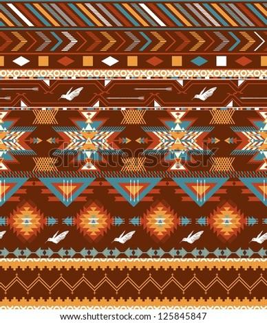 Aztecs seamless pattern with birds - stock vector