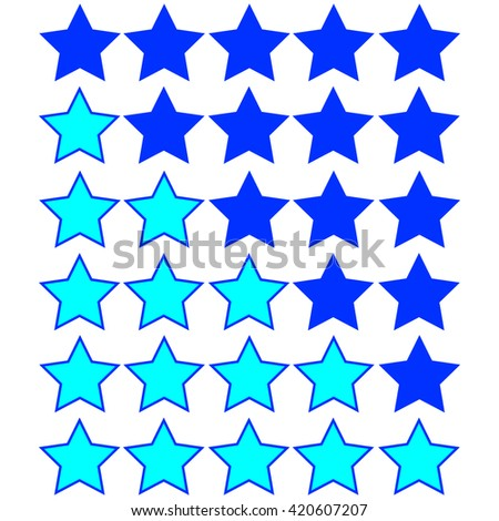 azure stars of rating on blue stars - stock vector