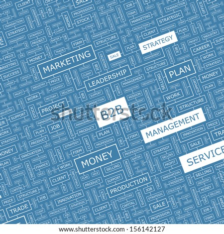 B2B. Background concept wordcloud illustration. Print concept word cloud. Graphic collage with related tags and terms. Vector illustration.  - stock vector