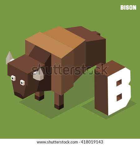 B for Bison, Animal Alphabet collection. vector illustration - stock vector