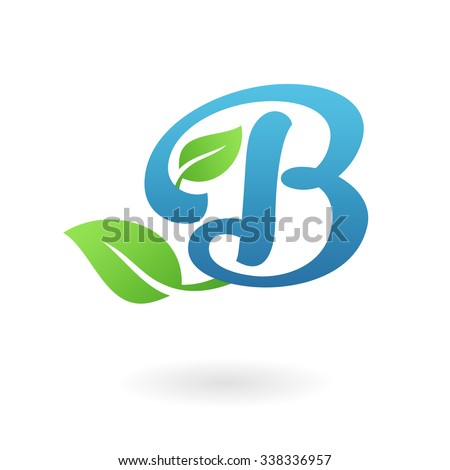 B letter business logo design template. Abstract calligraphic text vector elements for corporate identity emblem, label or icon of eco friendly company - stock vector