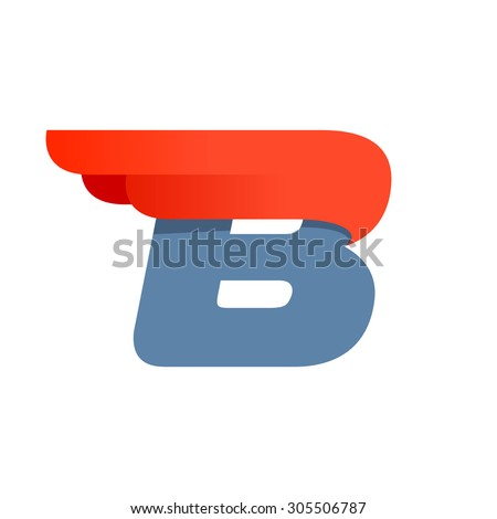 B letter logo design template. Second version. Fast speed vector unusual letter. Vector design template elements for your application or company. - stock vector