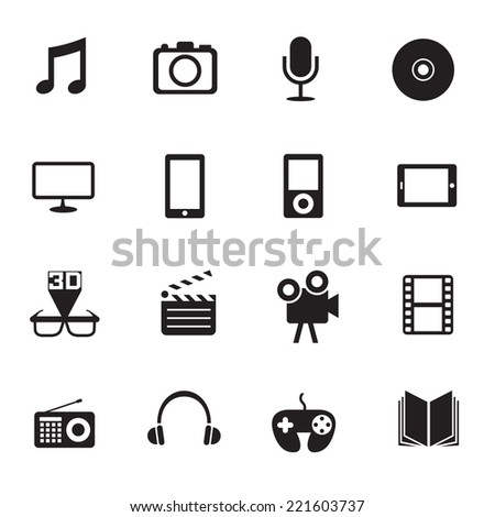B&W icons set : Multimedia & Entertainment Objects - stock vector