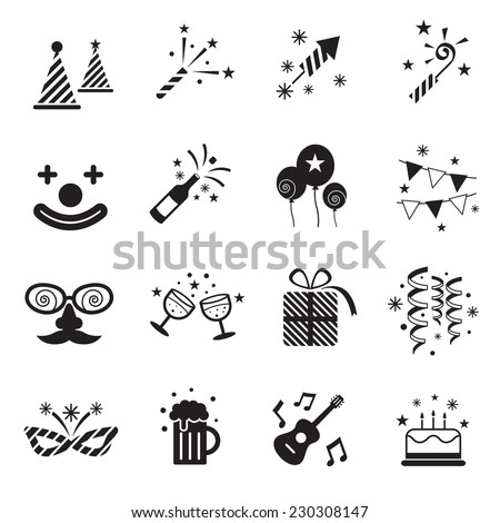 B&W Icons Set : Party Objects - stock vector