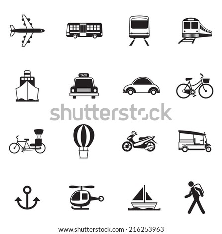 B&W icons set : Transportation, Trips & Travel - stock vector