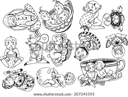 B&W Lovely Kids Collection (vector eps10) - stock vector