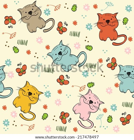 babies hand draw seamless pattern with cats - stock vector