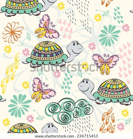babies hand draw seamless pattern with turtle - stock vector