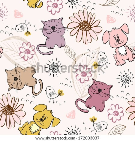 babies hand drawn seamless pattern with cats - stock vector