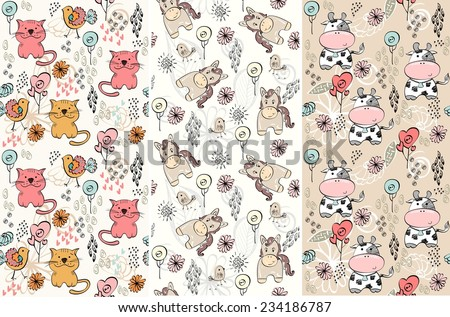 babies hand drawn seamless pattern with farm animals - stock vector
