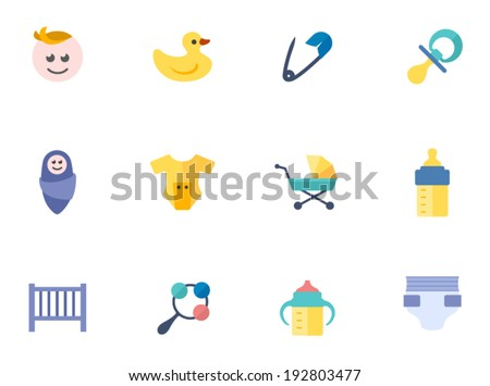 Babies icons in flat colors style.  - stock vector