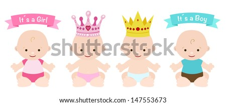 babies set cute girl and boy - stock vector