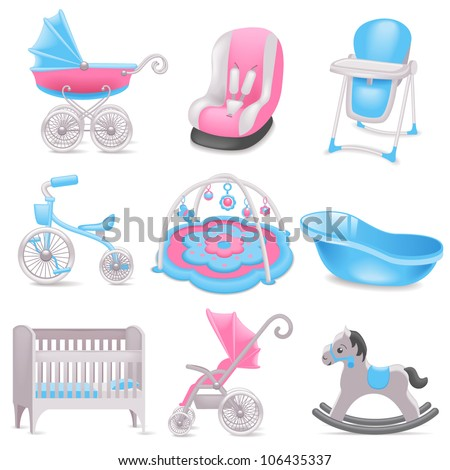Baby accessories  icons - stock vector