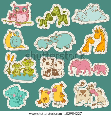 Baby and Mommy Animal Set on paper tags - for design and scrapbook - in vector - stock vector
