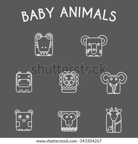 Baby Animals Round Icons Set. Elephant, Crocodile, Giraffe, Koala, Hippo, Lion, Panda and Chimp Characters. Colorful Line Art Vector illustration. - stock vector
