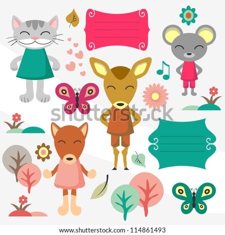 Baby animals scrapbook elements set - stock vector