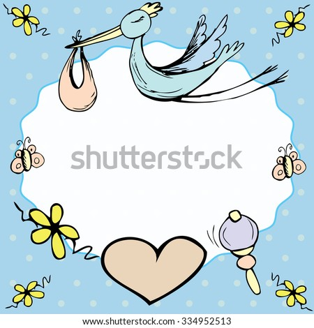 baby announcement card or baby frame.hand drawn  vector illustration - stock vector
