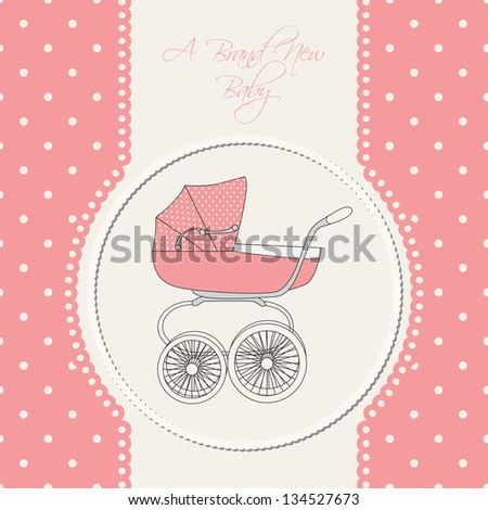 Baby announcement card. Vector illustration. - stock vector
